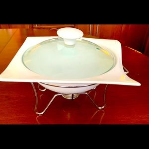 porcelain baker warming dish & cover &warmer stand